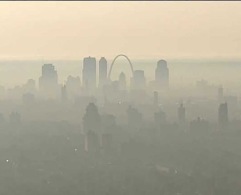St. Louis Skyline air quality low visibility